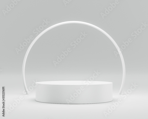 Leinwand Poster Empty podium or pedestal display on white background with circle ring and success concept