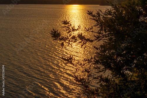 Sunset at Lake Marathon on a autumn evening, Attica, Greece Canvas Print
