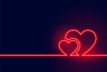 Glowing Red Neon Heart Valenti...