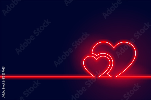 glowing red neon heart valentine day background
