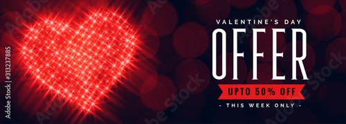 Obraz valentines day offer banner with discount details - fototapety do salonu
