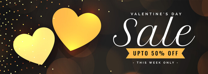 valentines day sale banner with two golden hearts