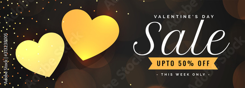 Obraz valentines day sale banner with two golden hearts - fototapety do salonu