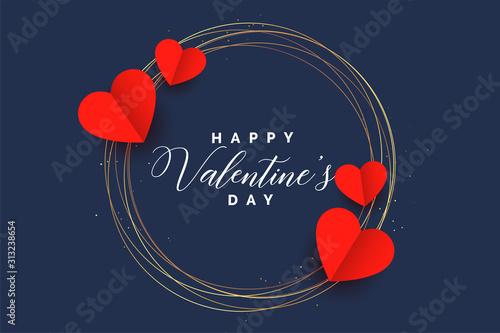 Photo stylish hearts frame valentines day card design