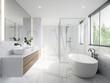 Leinwanddruck Bild modern wite bathroom with white marble anf bthtub