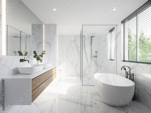 Fotografie, Tablou modern wite bathroom with white marble anf bthtub