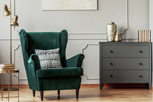 Emerald Green Wing Back Chair ...