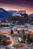 Salzburg, Austria. Cityscape image of the Salzburg, Austria with Hohensalzburg Fortress during beautiful winter sunrise.