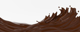 Fototapeta Abstract - A splash of chocolate. 3d rendering, 3d illustration.