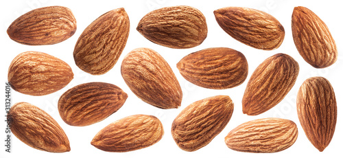 Fototapeta Almond isolated on white background with clipping path obraz