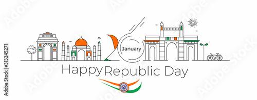 26 january Republic day concept - India Gate Taj Mahal & Gateway Of India Mumbai,  Line art vector illustration Fototapete