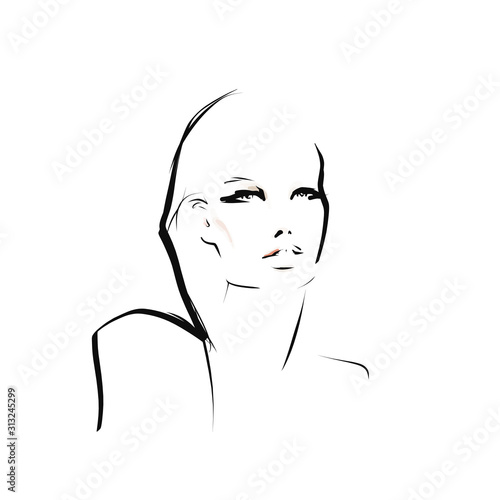 Portrait of young beautiful woman, model. Fashion illustration in sketch style. Vector