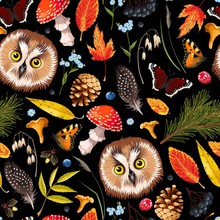 Forest Seamless Pattern With Owl And Leaves