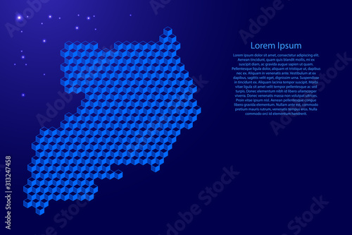 Photo Uganda map from 3D classic blue color cubes isometric abstract concept, square pattern, angular geometric shape, glowing stars