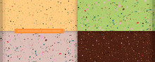 Set Of Four Textures Live Coral Color In The Style Of Terrazzo Venziano. Pattern For Ceramics Marble Natural Stone Abstract Background