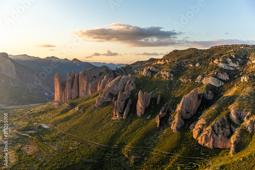 Fotografie, Obraz  Mallos de Riglos, a set of conglomerate rock formations in Spain