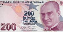 Turkish 200 Lira Note. Turkey Currency, Money.