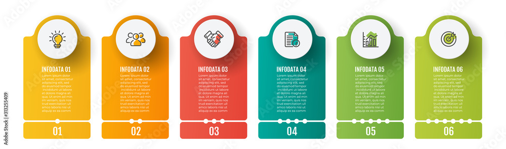 Fototapeta Business infographics template. Timeline with 6 steps, label and marketing icons. Vector illustration.