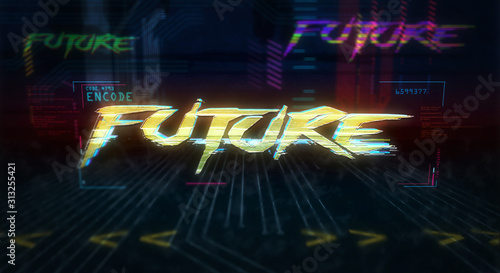 Photo Cyberpunk style intro with future theme