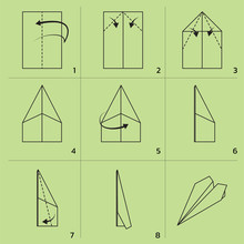 Paper Plane Folding Tutorial Sequence Cartoon Vector Illustration