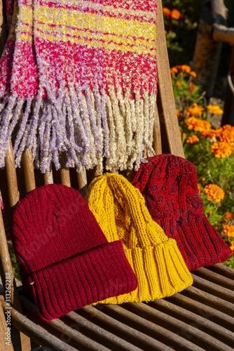 Valokuva 暖かい毛糸で作った防寒具