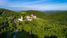 Aerial View On Castle Sovinec, Eulenburg, Robust Medieval Fortress, One Of The Largest In Moravia, Czech Republic.