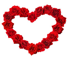 Red Rose Flowers In A Heart Shape Frame