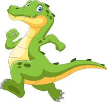 Happy Cartoon Crocodile Running Fast