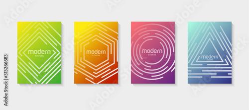 Fototapeta Abstract vector covers design template. Geometric gradient background. Background for decoration presentation, brochure, catalog, poster, book, magazine obraz