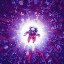 Space Time Singularity / 3D Illustration Of Astronaut Floating Inside Abstract Alien Machine
