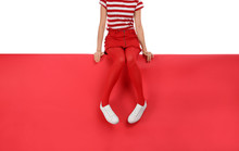 Woman Wearing Red Tights And S...