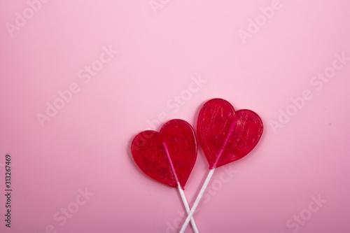 Fototapeta Red ribbon and heart with the white spots. obraz na płótnie