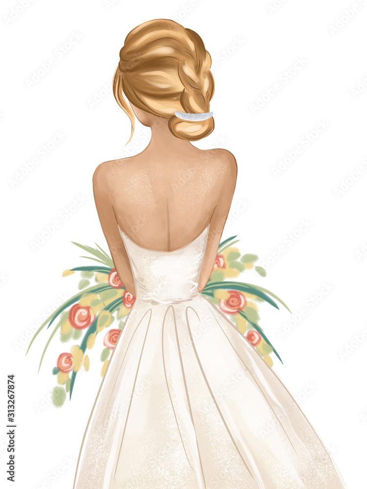 Hand drawn beautiful bride with flowers. Stylish pretty bride model. Fashion sketch
