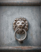 Lions Head Rusted Metal Door K...