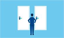 二つのドアと悩む人物、選択のイメージ