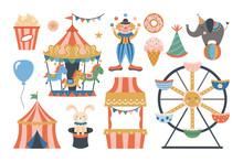 Cute Amusement Park Or Carnival Elements Design.