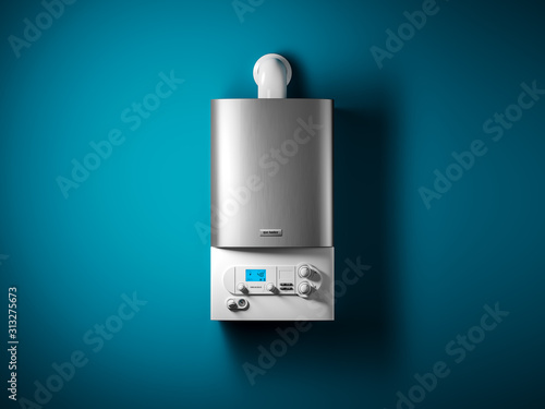 Fototapeta Gas home boiler with electronic control panel on the wall of the house. obraz
