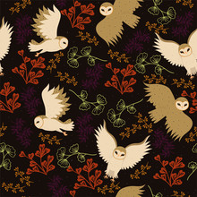 Seamless Pattern With Barn Owl...