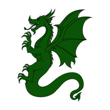 Vector Illustration. The Image Of A Green Dragon Is Isolated On A White Background. EPS 8