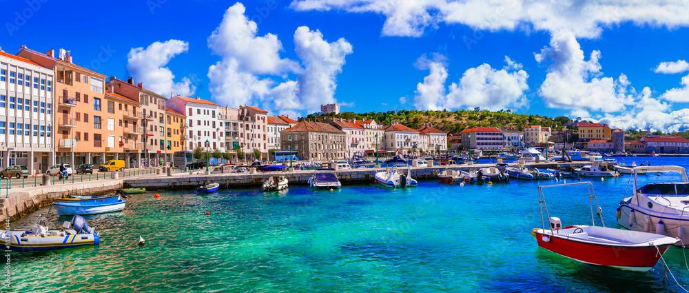 Fototapeta Landmarks and travel in Croatia. Coastal colorful town - Senj