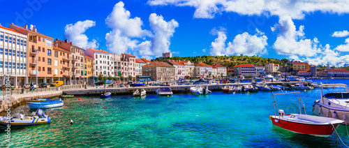 Landmarks and travel in Croatia. Coastal colorful town - Senj