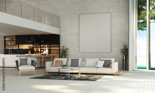 Cuadros en Lienzo Modern mediterranean living room interior design and concrete wall background an
