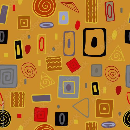 Obrazy Gustav Klimt  seamless-vector-pattern-abstract-geometric-background-kurugi-squares-and-triangles