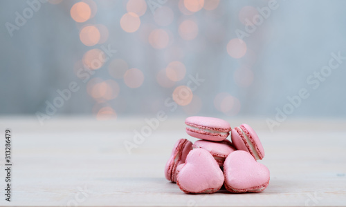 pink macaroons macaroons in the shape of a heart Canvas Print