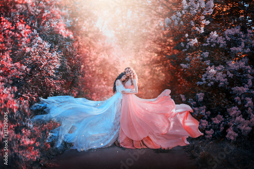 Fototapeta Wróżki   two-women-in-long-dresses-hugging-train-flies-wind-bright-fabulous-purple-colors-art-retouching
