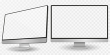 Computer Display In Two Angles. Computer Monitor Isolated On Transparent Background Eps10 Vector. Desktop Pc Vector Mockup.