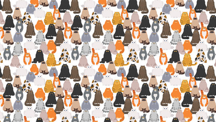Cat poster. Cartoon cat characters seamless pattern. Different cat`s poses an...