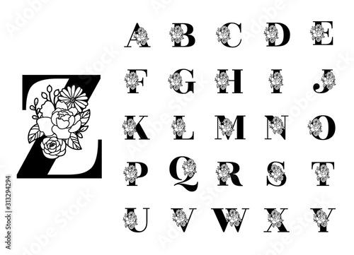 Floral alphabet cut out black letters Wallpaper Mural