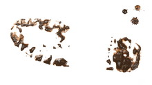 Foot Print In Wet Mud, Shoe Isolated On White Background, With Clipping Path