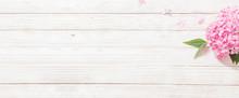 Pink Hydrangea On White Wooden Background